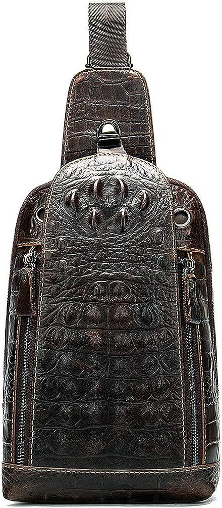 Men's Leather Sling Bag Outdoor Shoulder Backpack Crossbody Bag