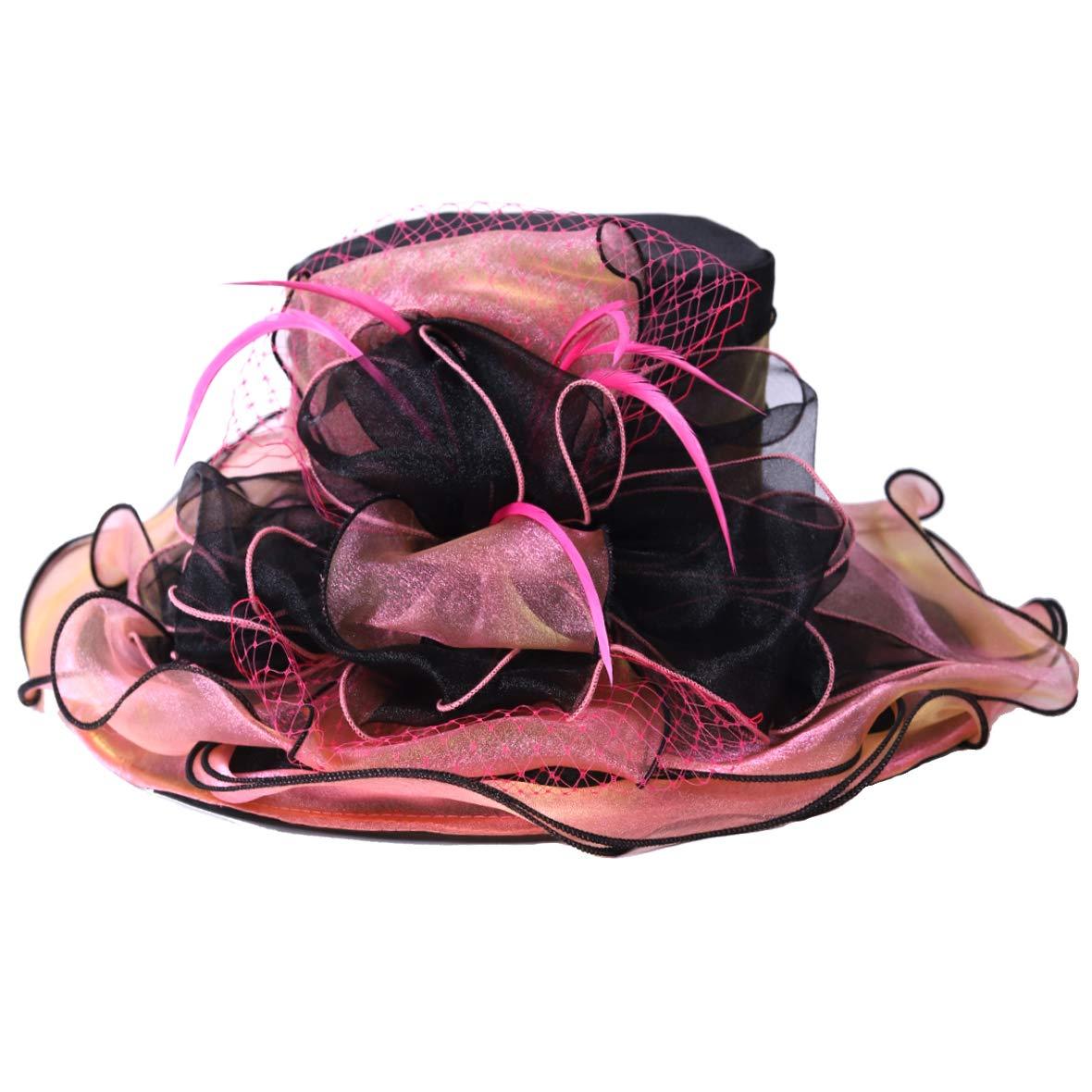 Womens Organza Kentucky Derby Church Wedding Hat Fascinator Bridal Wide Brim Tea Party Dress Hats
