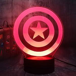 Captain America's Shield Cool Marvel Legends The First Avengers Desk Lamp Acrylic 3D Optical Illusion Night Light Best Gift Light for Kids Birthday Christmas Present Baby Sleep Lamp Room Decor