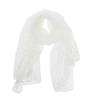 FASHIONGEN - charpe femme douce imitation coton, perles et strass, LEIA -  Blanc 24a72764ad5