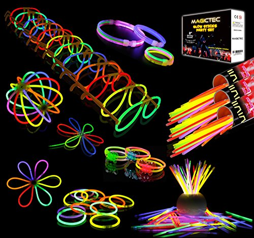 Sunlitec 300 Glowsticks, (656 Pcs Total) Light up Toys Glow Sticks Bracelet Necklace Light-Up Mixed Colors Party Favors Supplies with 356 Connectors (Total 656 PCs)