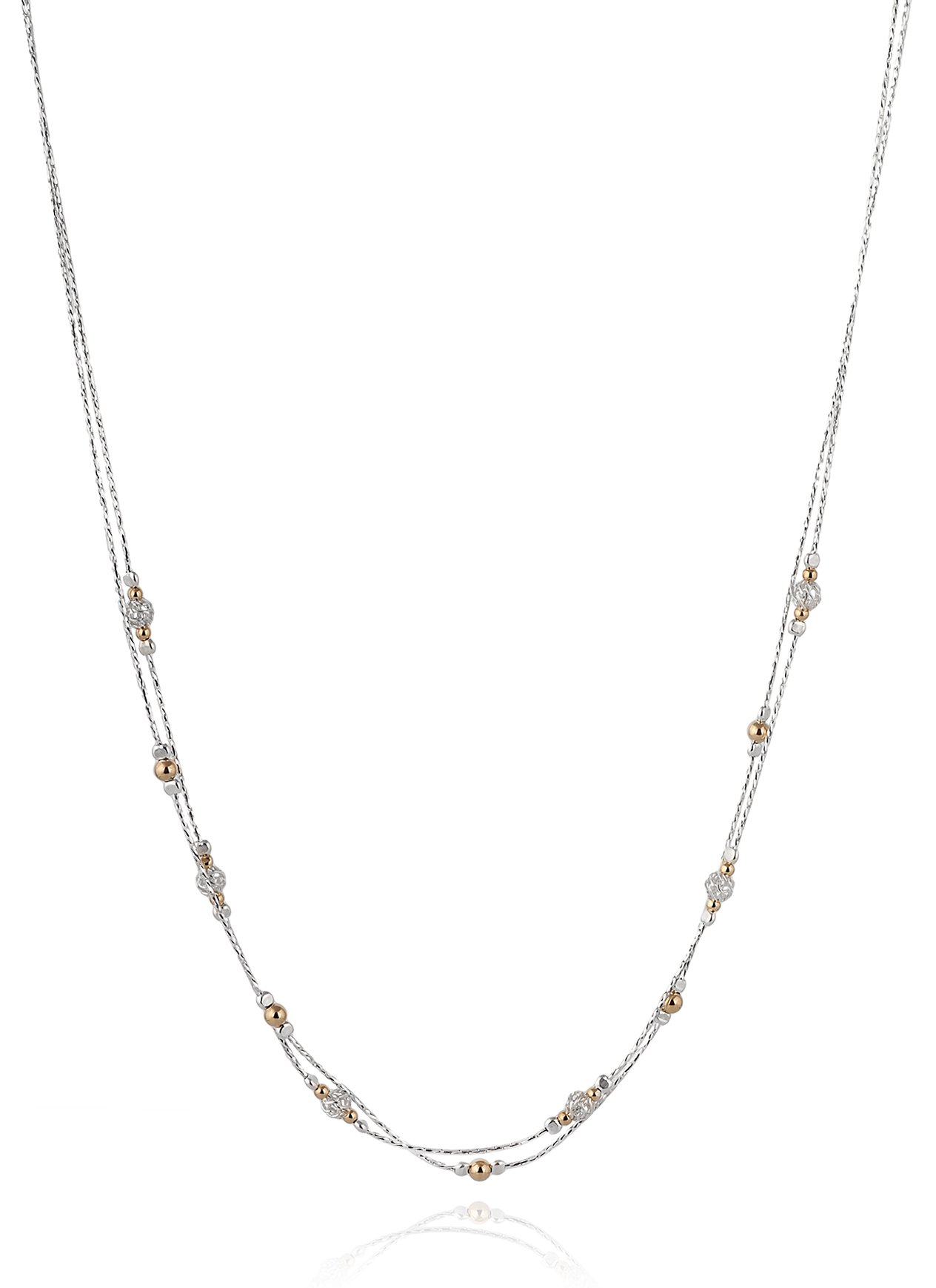 Double Strand Sterling Silver Necklace with 14k Gold Filled & Wire Net Bead Stations, 18'' + 4'' Extender