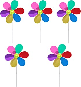 5 Piece Wind Spinner with Ground Stake, Plastic Colorful Sunflower Windmill, 19.7inch Flower Spinners Outdoor, DIY wind spinners for Decoration Outside Yard Garden Sculpture Stake Lawn Kids Toy