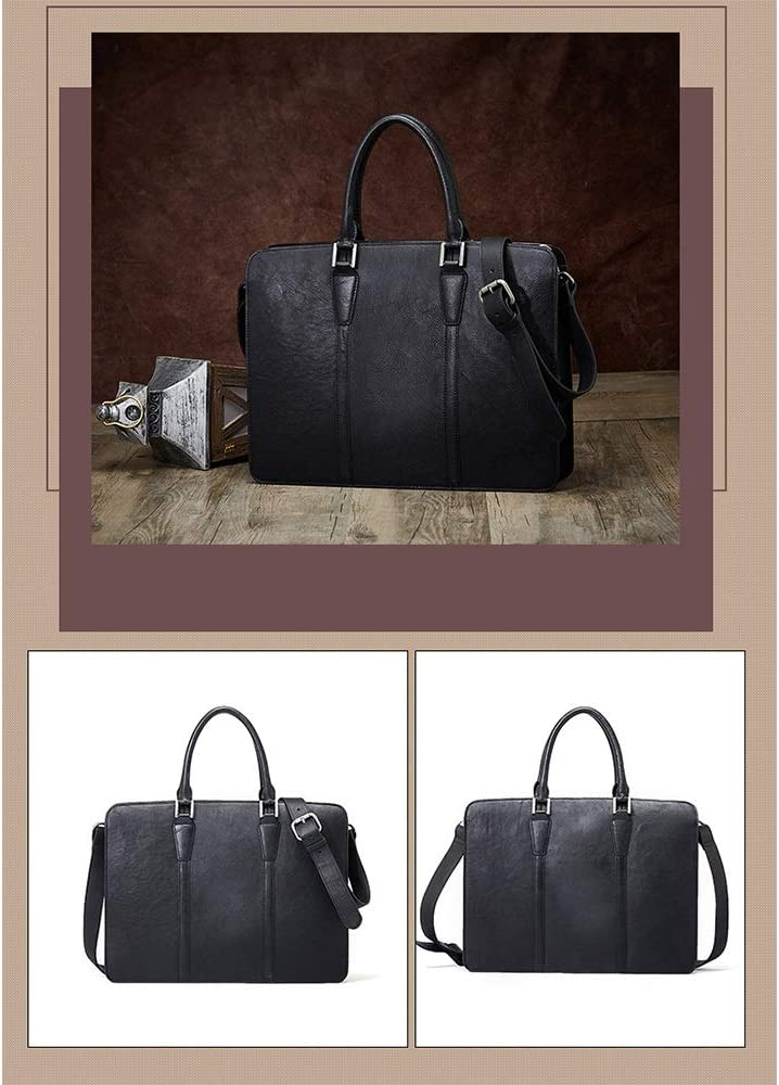 Color : Black GAOCAN-BG Convenient Briefcase Mens Shoulder Bag Leather Mens Bag Handbag Cross Section Business Bag Male Travel Bag