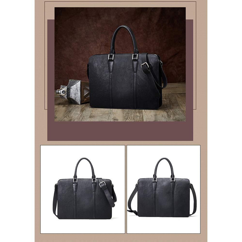 MXueei Retro läder herr portfölj affärsväska multifunktionell stor kapacitet handväska (färg: svart) Svart