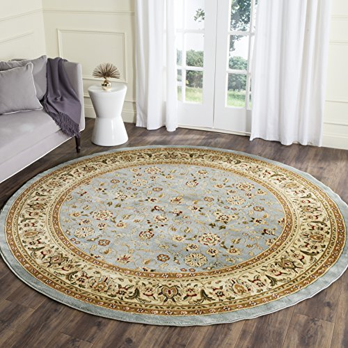 Safavieh Lyndhurst Collection LNH312B Traditional Oriental Light Blue and Ivory Round Area Rug (8' Diameter)
