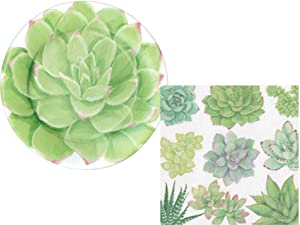 Succulent Party Supply Pack: Plant Themed Bundle Includes Plates and Napkins for 16 Guests