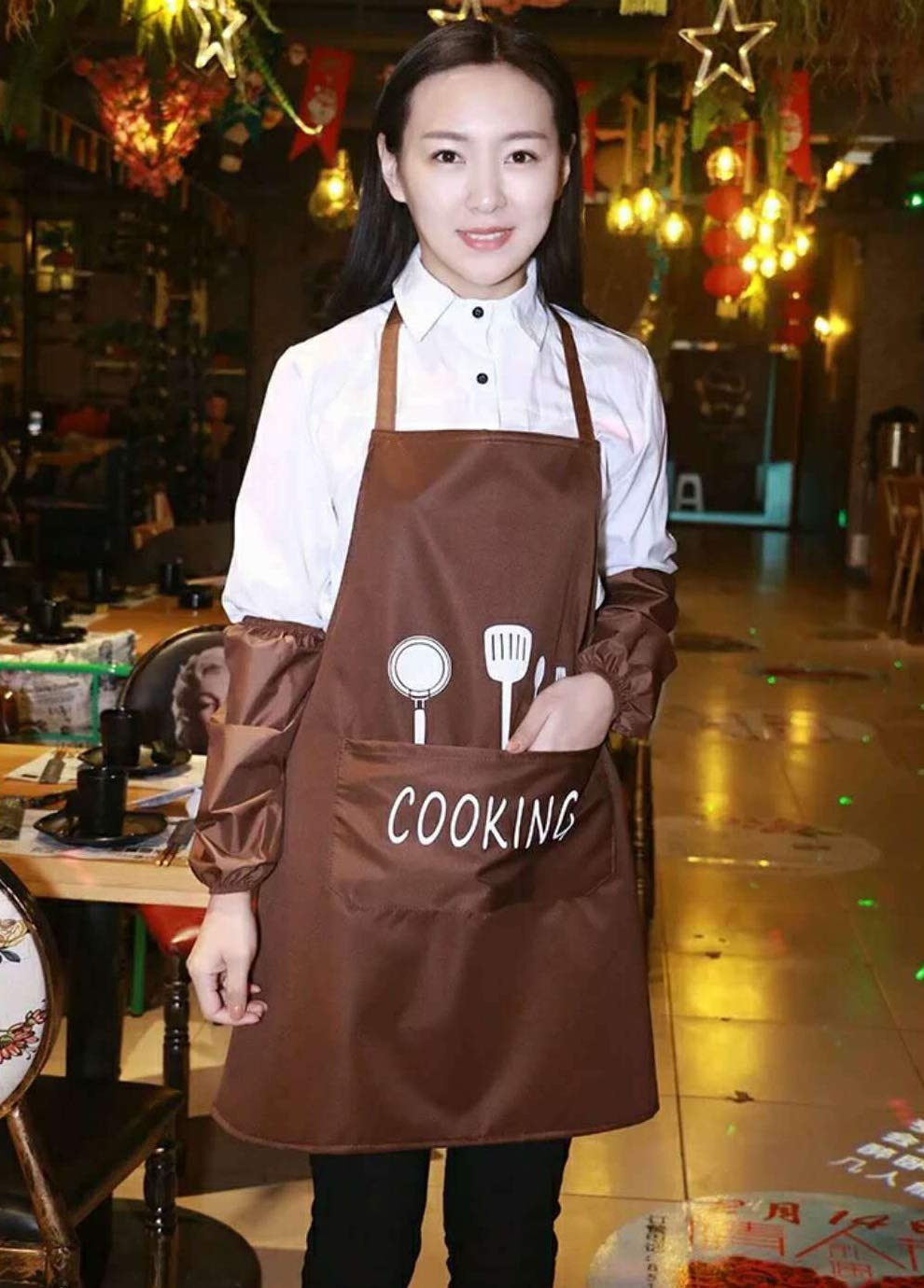Leeotia Water Resistant and Oil-Proof Cooking or Baking Apron with 2 Pockets Great Gifts for Both Women and Man- Coffee