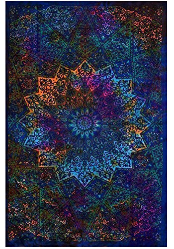 Twin Blue Tie Dye Bohemian Tapestry Elephant Star Mandala Tapestry Tapestry Wall Hanging Boho Tapestry Hippie Hippy Tapestry Beach Coverlet (Tie Dye Wall Tapestries)