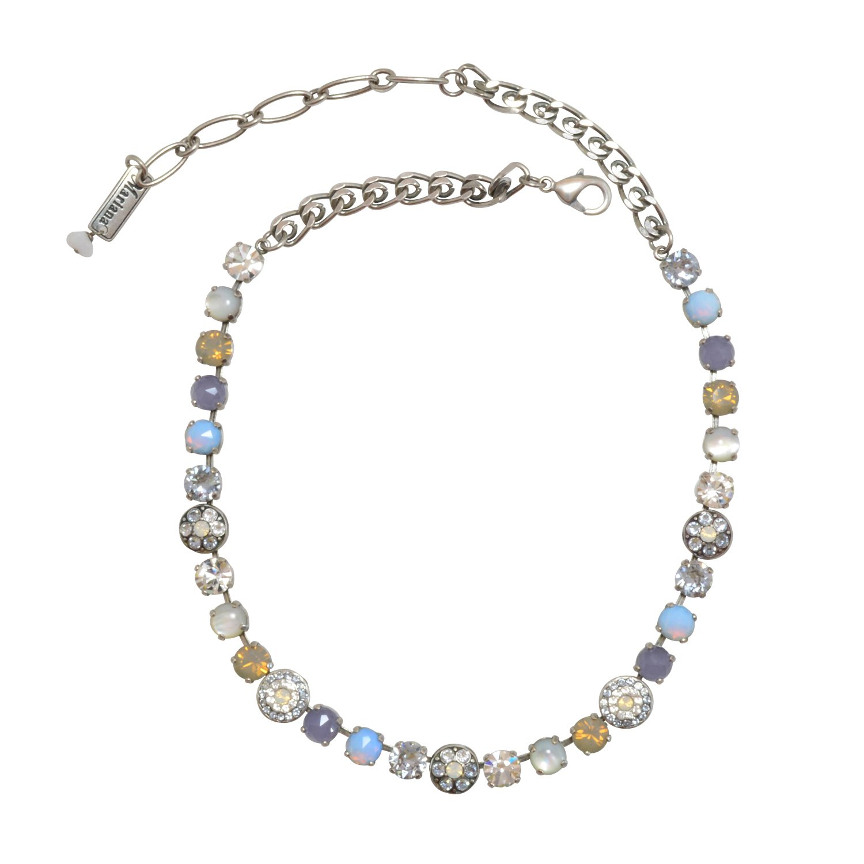 Mariana ''Silk'' Antique Silver Plated Swarovski Crystal Statement Necklace , 16+2'' Extender