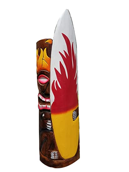 "20 ""Handcarved madera Tiki máscara con tabla de surf y llamas Tropical Hawaiian diseño"