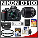 Nikon D3100 Digital SLR Camera with 18-55mm and 55-200mm DX AF-S Zoom Lens with 32GB Card + Filters + Case + Accessory Kit, Best Gadgets