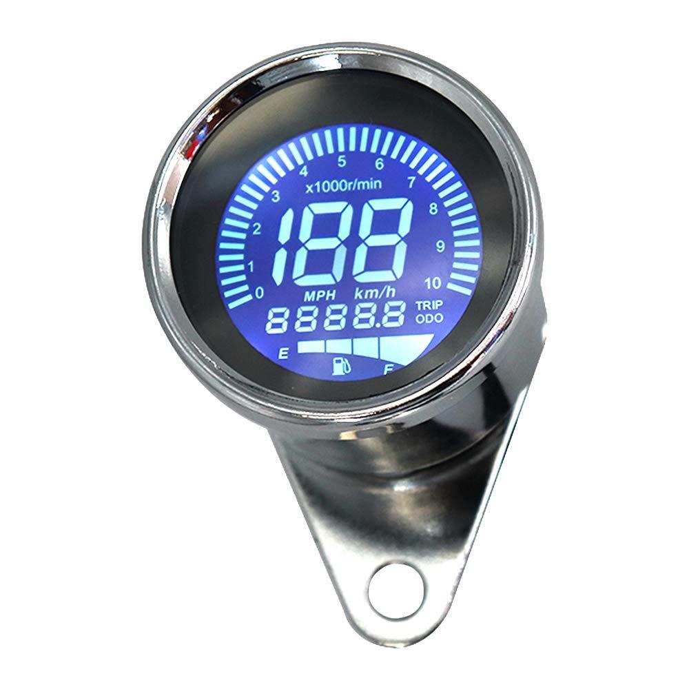 KKmoon Contagiri per Moto 0-10000 RPM 0-199KM // H Tachimetro Digitale per Moto Modificato da Strumento Motociclistico Universale 12V Display LCD del Contagiri Argento 7 Colori