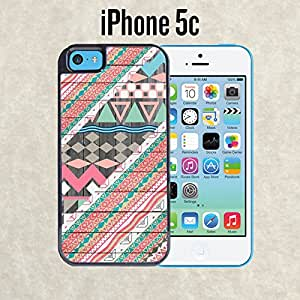 iPhone Case Aztec Abstract Pattern on Wood for iPhone 5c Black 2 in 1 Heavy Duty (Ships from CA)