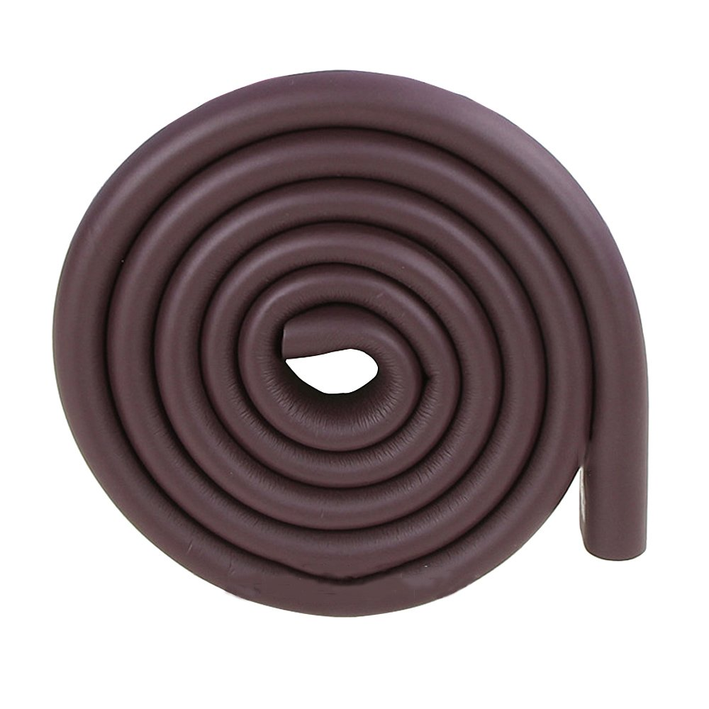 2m//6.5ft Environmental Brown Rubber Door Corner Protector Edge Bumper Guard for Tables Desks Beds Pools