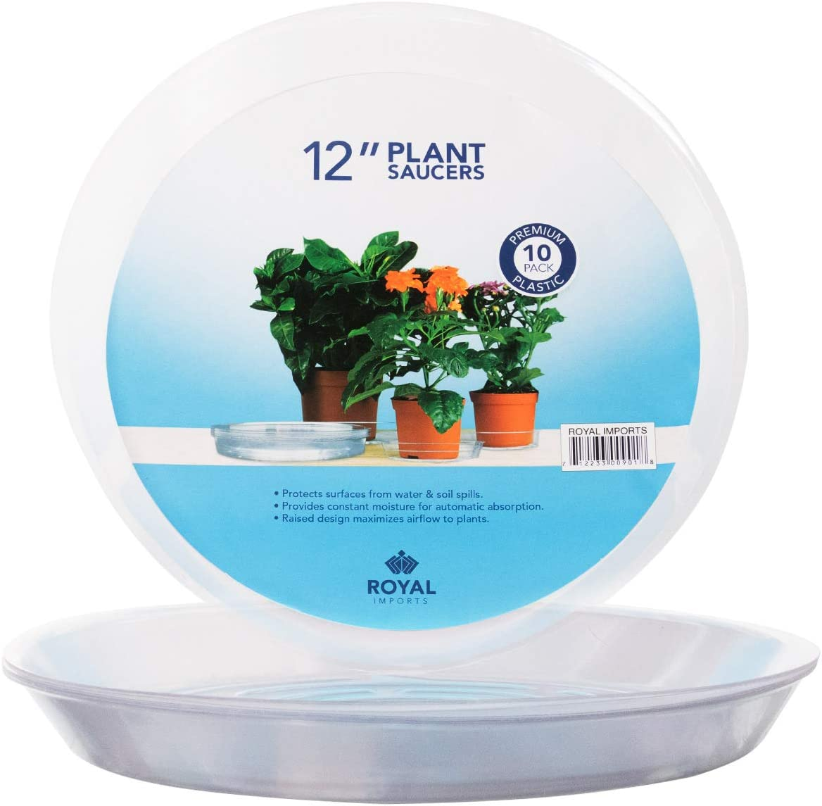"""Royal Imports Plastic Planter Saucer, Clear Drip Tray, Flower Pot Disposable Bowl Plate, Moisture Drainage Liner for Home and Garden, 12"""", 10-Pack"""