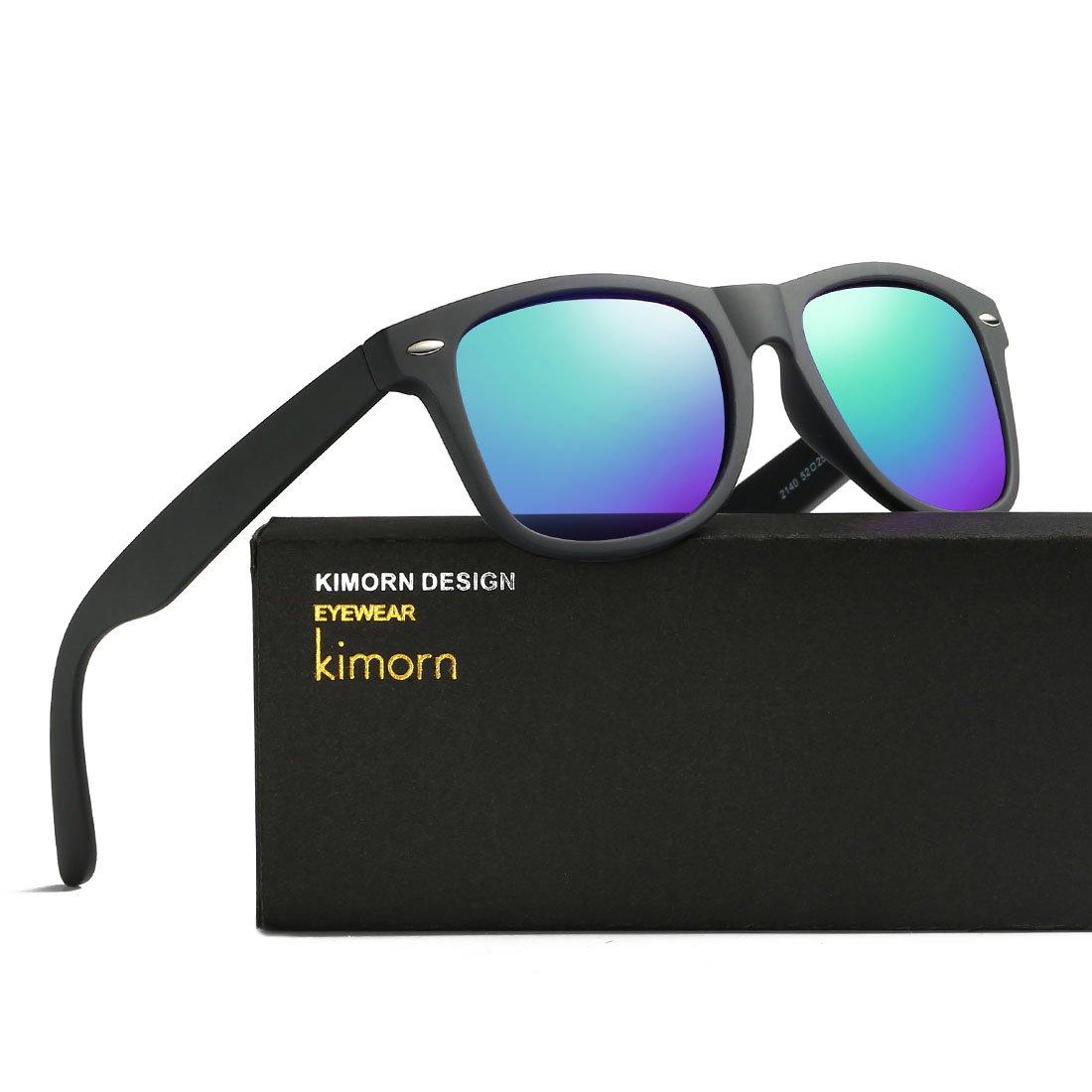 kimorn Polarizzate Occhiali Da Sole Classico Unisex Corno In Rotazione Anni Retro AE0300