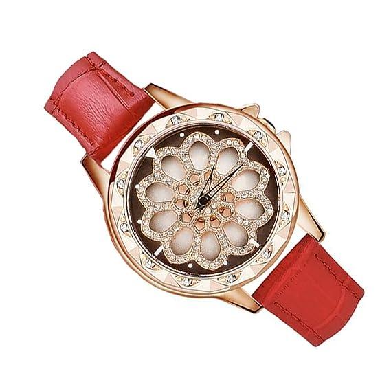 Reloj De Cuarzo para Mujer con Correa De Cuero Ajustable, Chasis Giratorio De 360 °
