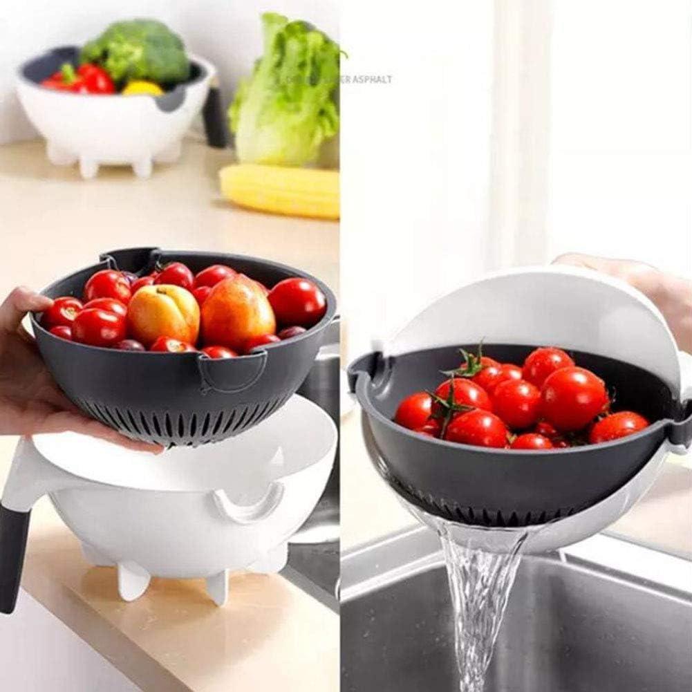 9 in 1 Multifunction Vegetable Fruit Peeler Cutter Slicer Chopper Washing Basket