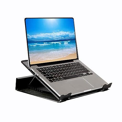 Soporte de ordenador portátil ajustable con malla de metal DESIGNA para escritorio Notebook Tablet Negro