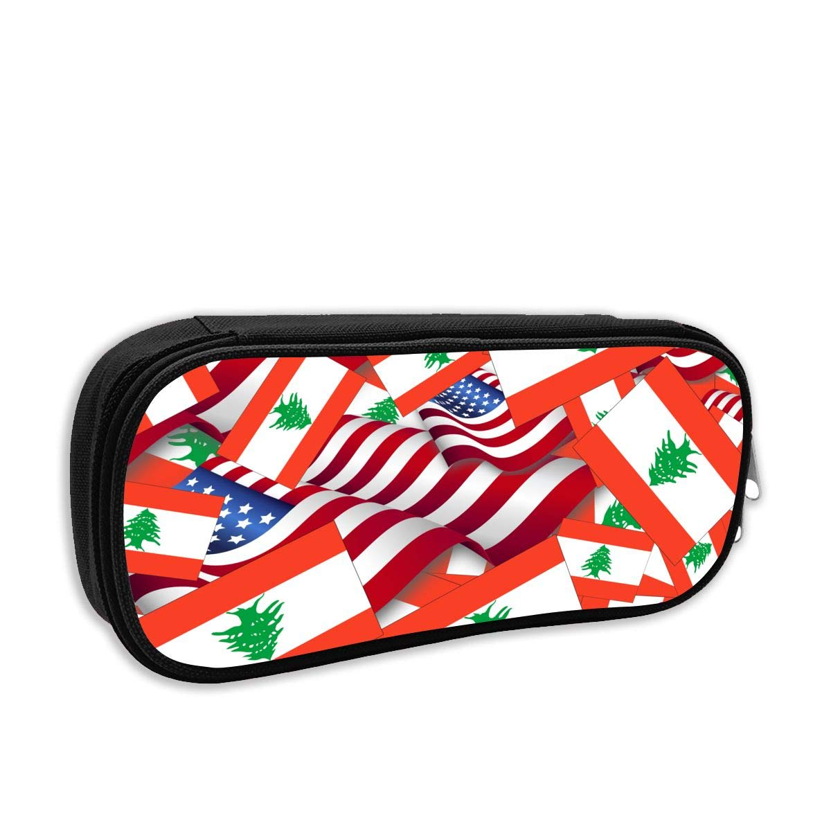 Pencil Case - Lebanon Flag with America Flag Pencil Pouch Stationery Organizer Multifunction Cosmetic Makeup Bag Perfect Holder for Pencils and Pens