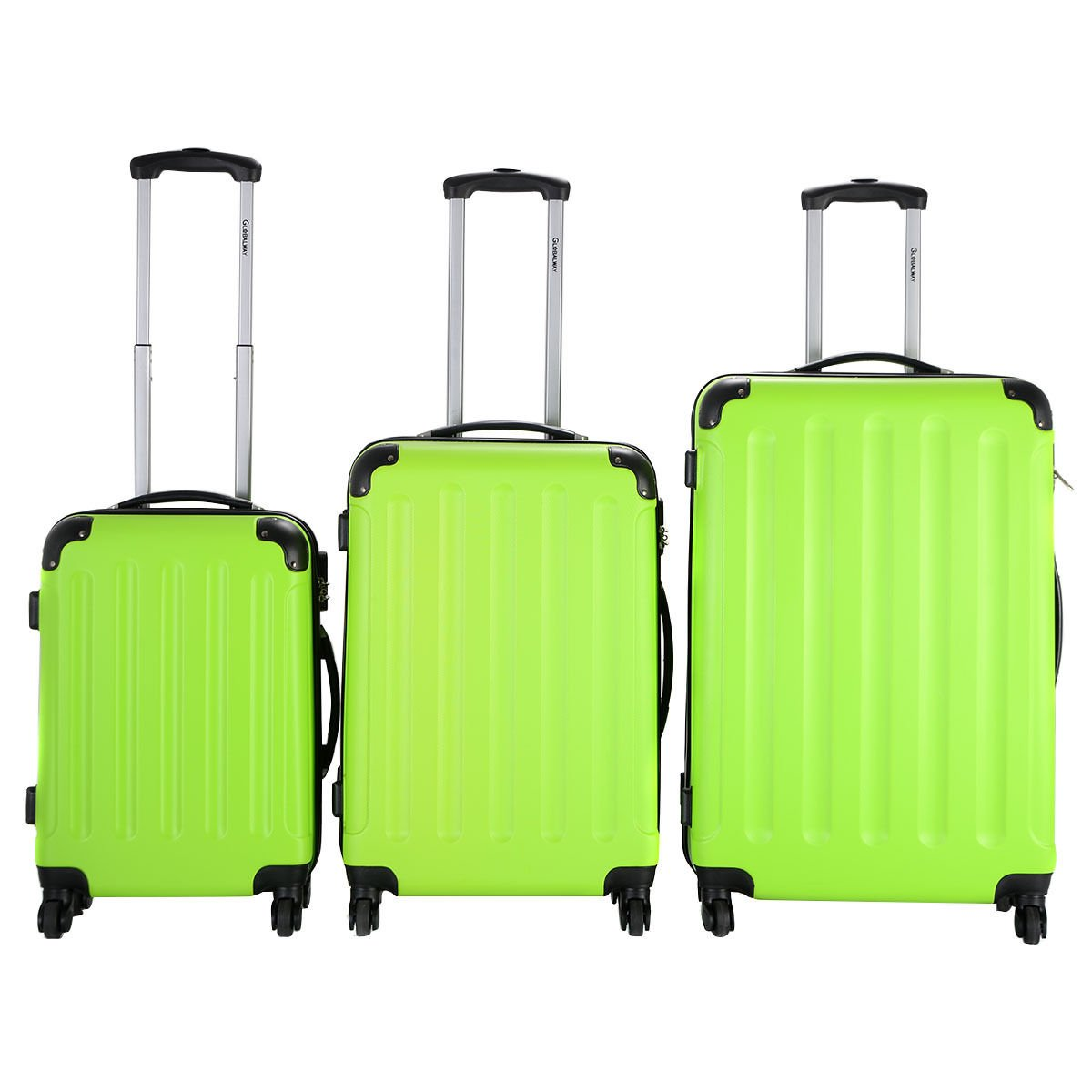 3 Pcs Luggage Travel Set Bag ABS+PC Trolley Suitcase Green