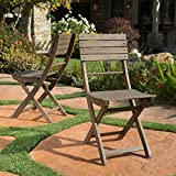 Vicaro | Acacia Wood Foldable Outdoor Dining Chairs | Set of 2 | Perfect for Patio | with Grey Finish For Sale