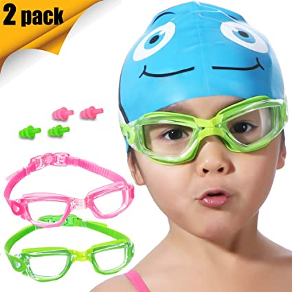 358cb0430e8 Kids Swim Goggles 2 Pack (OR Silicone Swim Caps 2 Pack) Crystal Clear Swimming  Goggles for Children and Teenagers