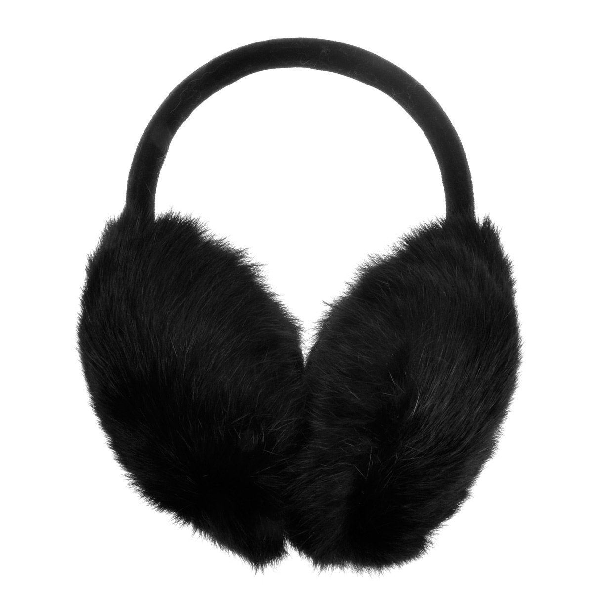 ZLYC Womens Girls Genuine Rabbit Fur EarMuffs Adjustable Ear Warmers, Black by ZLYC