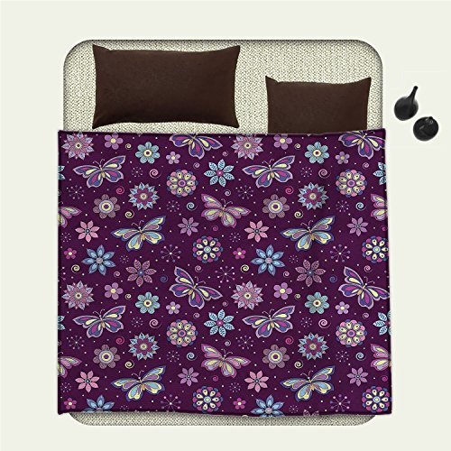 smallbeefly Butterfly Flannel blanket Vortex Shapes with Polka Dots Background Flower Pattern Colorful Animal Designblanket queen size Multicolor Vortex Blanket