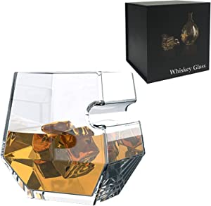 Old Fashioned Whiskey Glasses in Gift Box, 12.5oz, as Gift Idea for Men, Dad, Boyfriend, Husband, Perfect for Scotch, Bourbon and Old Fashioned Cocktails (Hexagon) (1, Glass)