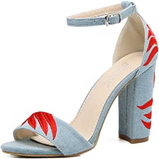 HETAO personnalité Women Closet Ladies Brodé Flower Denim One Word Bandstrappy Sandals One Word Band Peep Toes Talons Hauts Le Cadeau de la Fille