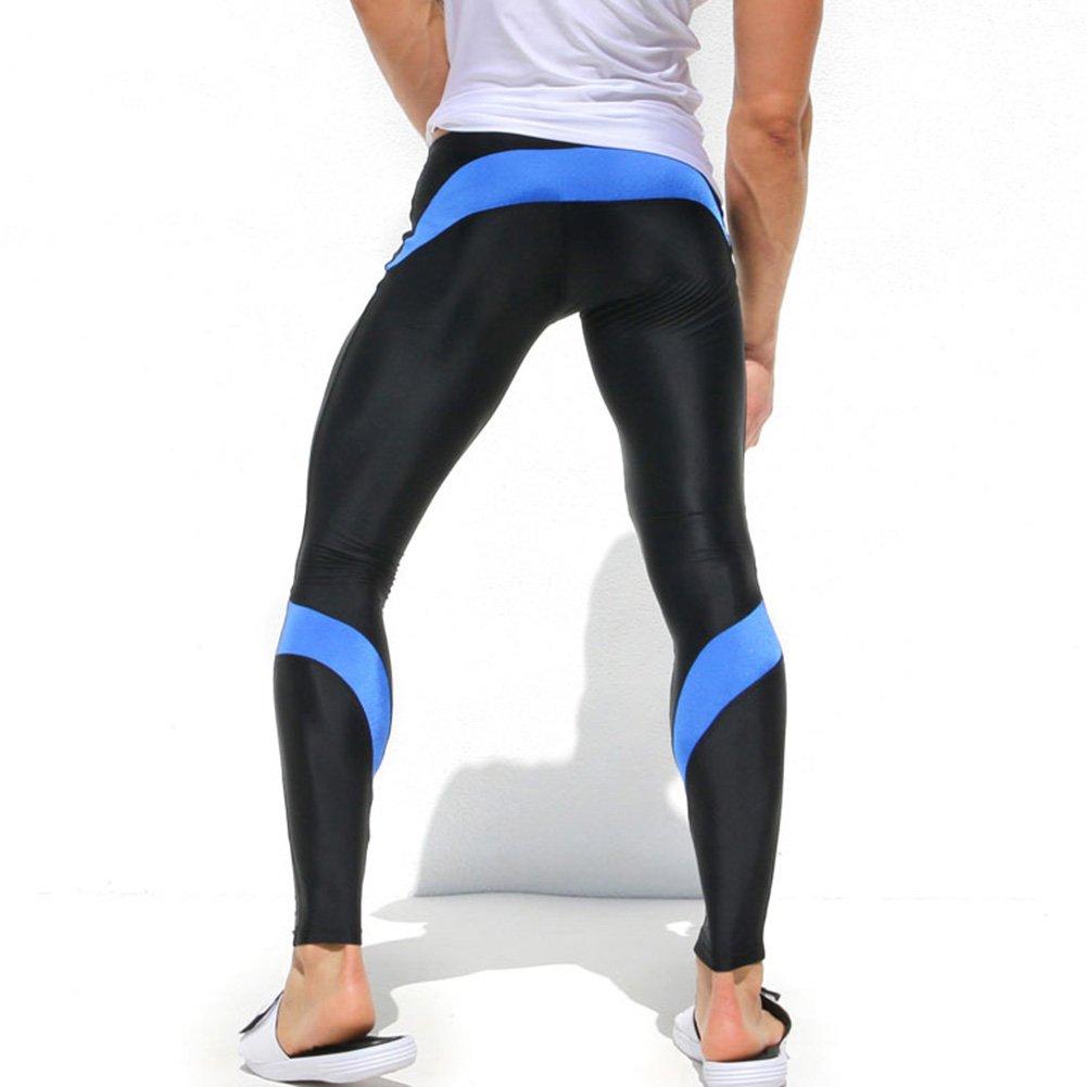 iiSport- Pantaloni Aderenti Uomo Corsa Autunno - Inverno Pantaloni da Jogging Tuta da Palestra Pantaloni Interi da Sport Panatloni Sportivi (Blu) (Taglia: XS S M)
