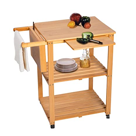 Kinbor 3-Tire Natural Wood Kitchen Utility Cart Work Island Portable  w/Cutting Board