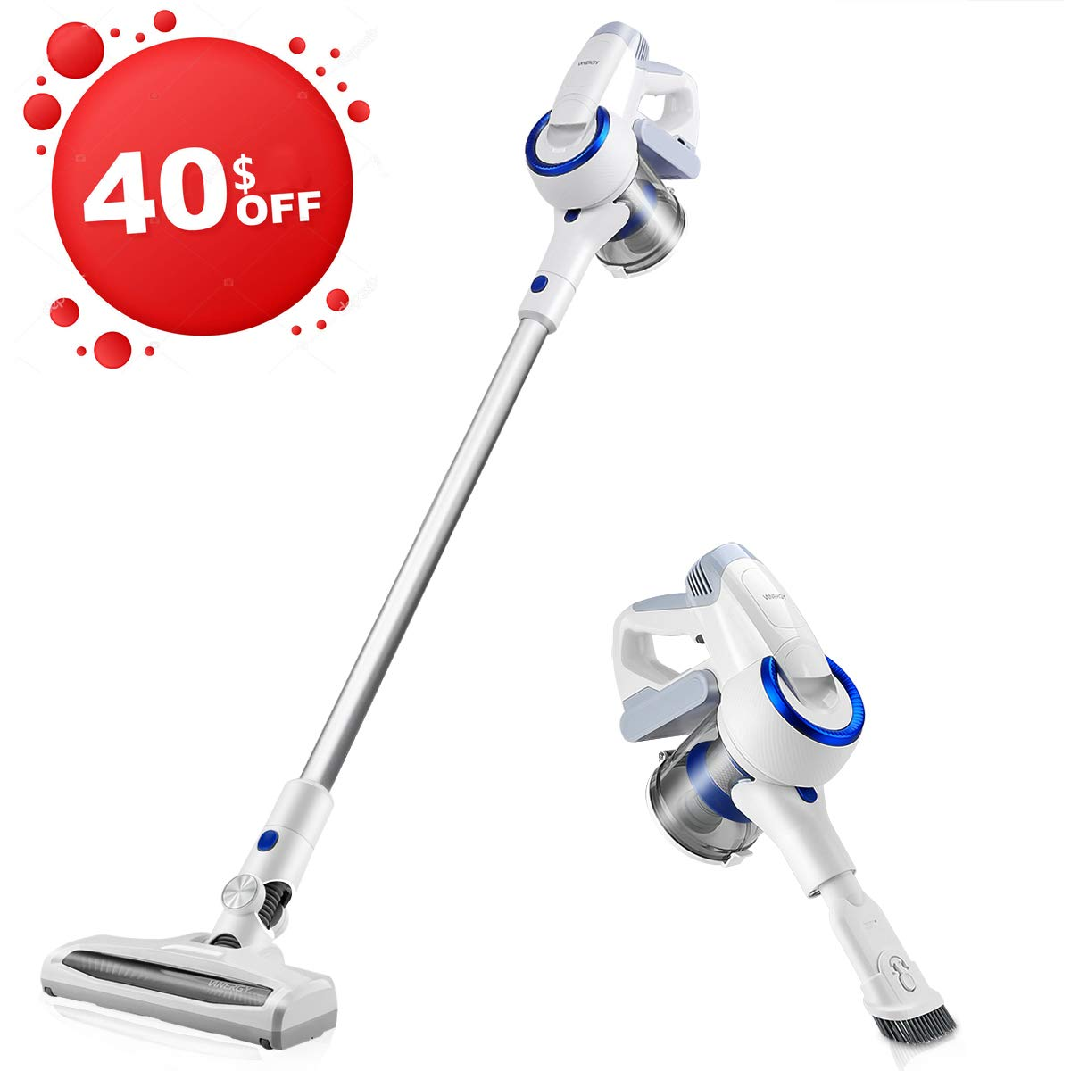 Vanergy Cordless Vacuum Cleaner, Stick Vacuum 2 in 1, 150W Brushless Motor, 5 Stage Hepa Filter, Detachable Lithium Battery & Ultra-Wide Roller Brush, for Deep Cleaning and Pet Owner by VANERGY