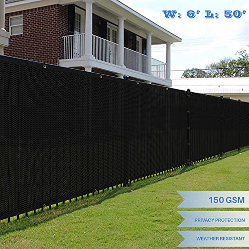 E&K Sunrise 6' x 50' Black Fence Privacy Screen, Commercial Outdoor Backyard Shade Windscreen Mesh Fabric 3 Years Warranty (Customized Sizes Available) - Set of 1