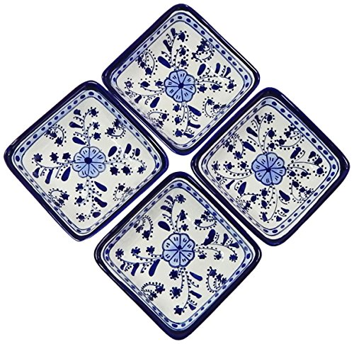 Le Souk Ceramique Square Sauce Dishes, Set of 4, Azoura Design