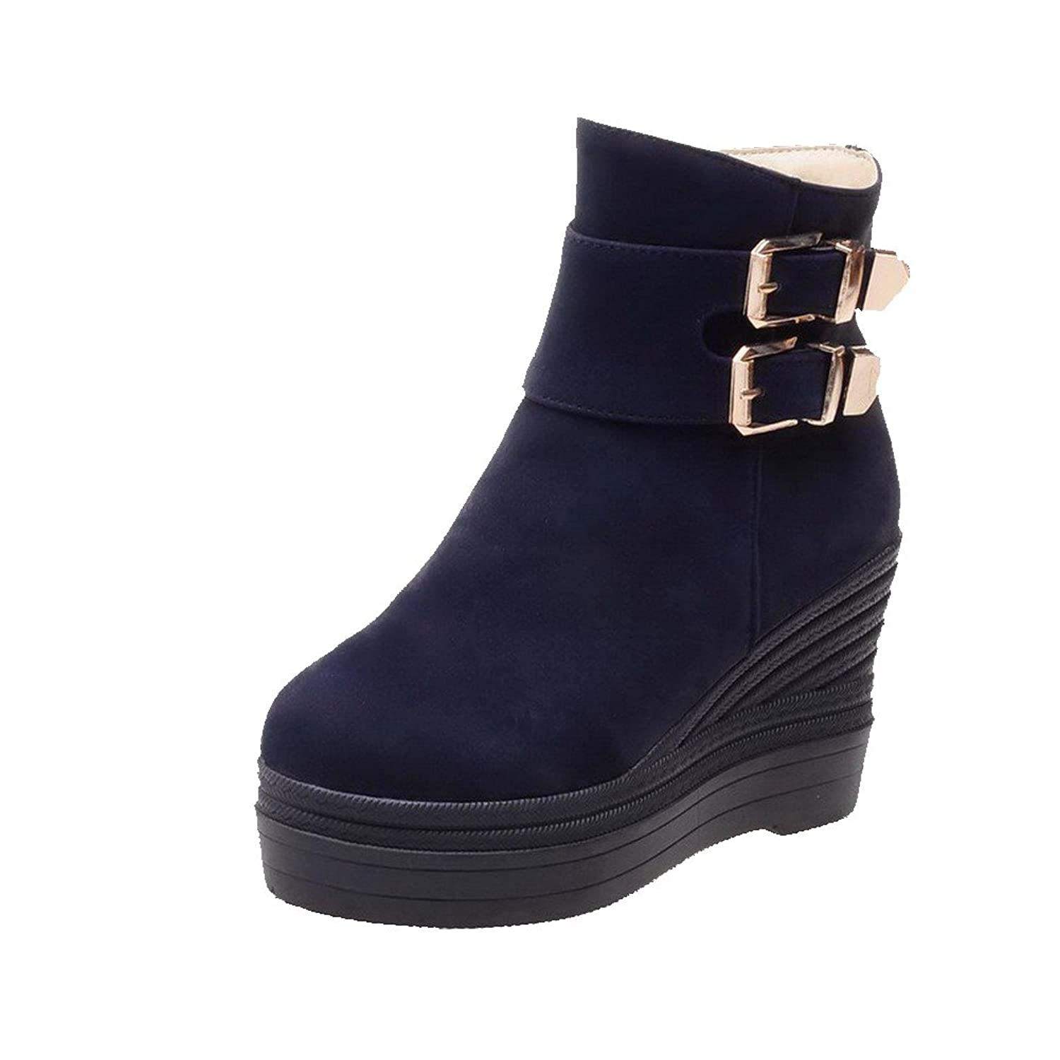 AmoonyFashion Women's Closed Round Toe High-Heels Frosted Low-top Solid Boots