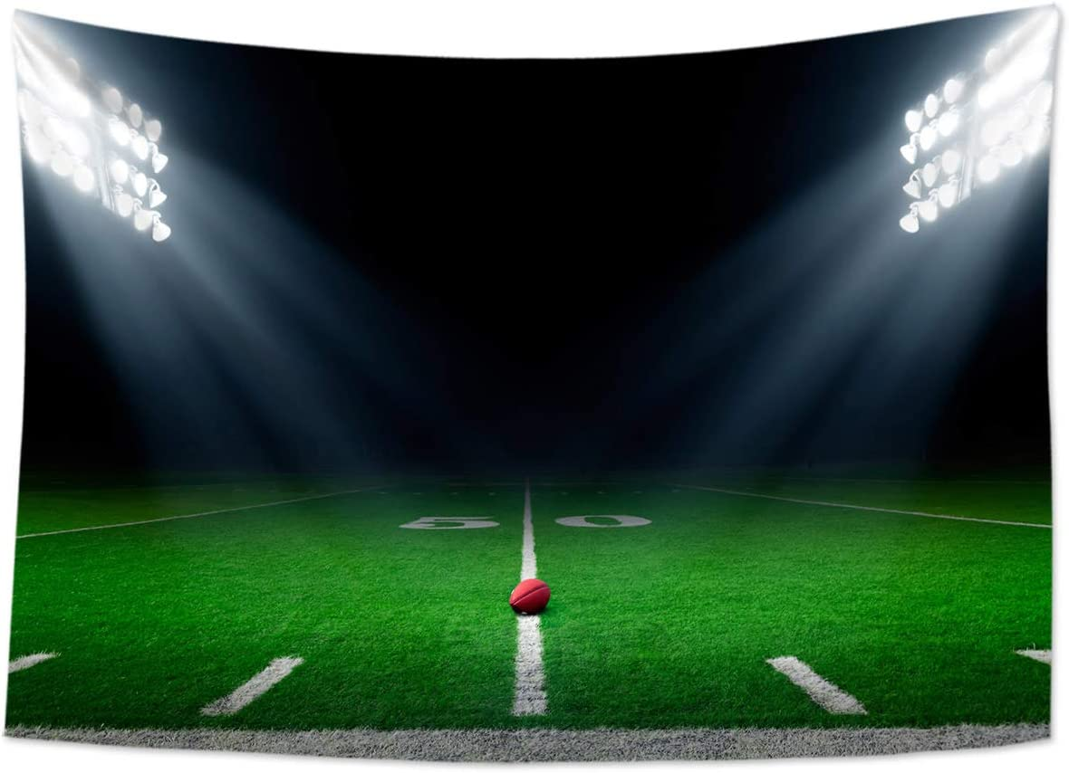 HVEST American Football Stadium Tapestry Wall Hanging Sports Field Wall Tapestry Grass Playground Tapestry Super Bowl Tapestry Party Backdrop for Bedroom Room Decor, 92.5Wx70.9H inches