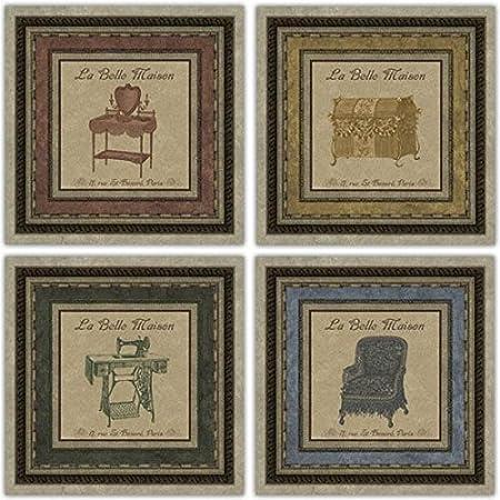 La~Belle Maison mueble para~trunk~para máquina de coser~silla~juego de 4 T, Cathey sin bastidor Art Prints: Amazon.es: Hogar