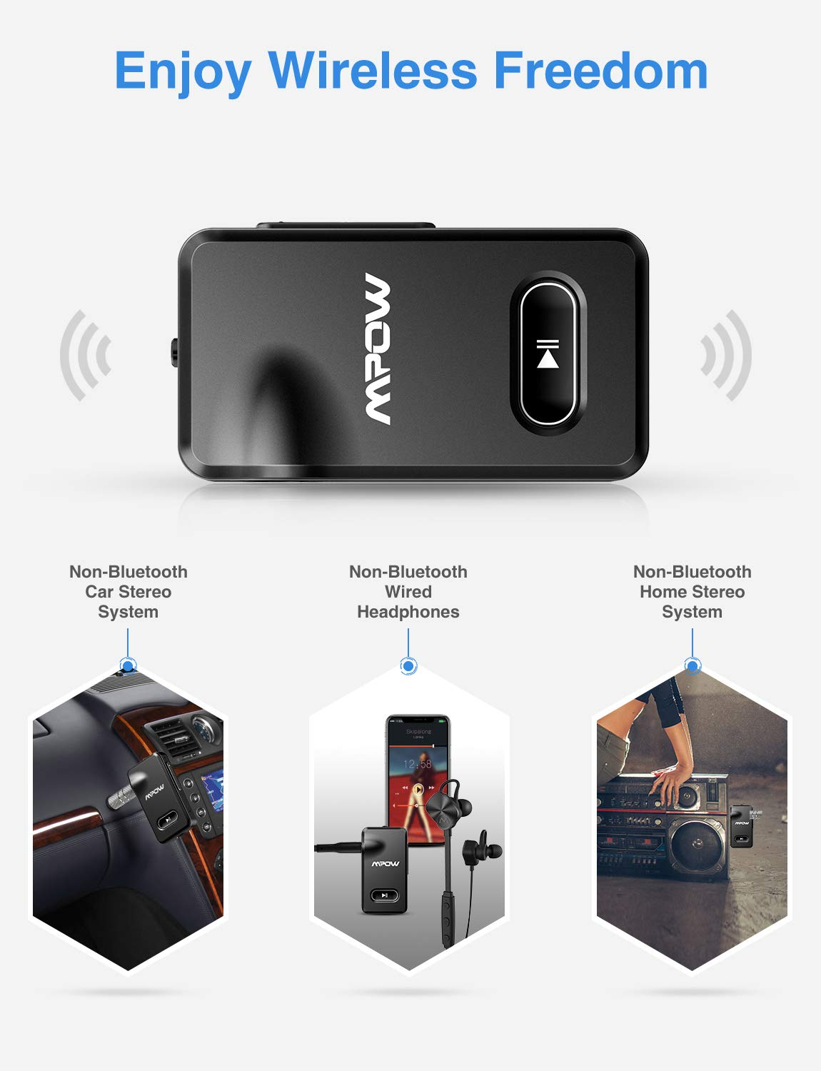 Mpow BH129 Bluetooth Receiver with CSR Chip for Better Music Quality,15 Hours Long Playing Time Bluetooth Adapter, Wireless Audio Car Kits with 1 Second Turn On/Off Button (Dual Link, Voice Assistant) by Mpow (Image #2)