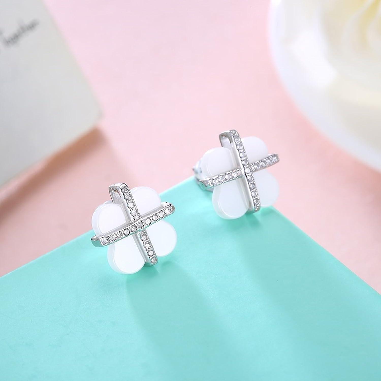 MoAndy S925 Sterling Silver Stud Earrings for Girls Women Cubic Zirconia