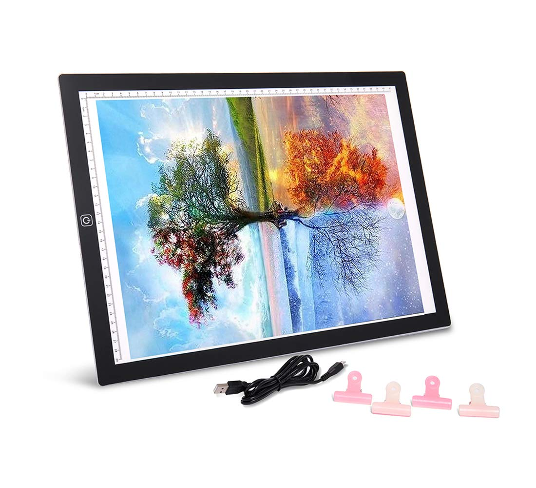 SanerDirect Diamond Painting A3 LED Light Pad - Tracing Light Box for Drawing, Adjustable Brightness w/Ruler, USB Powered Projector Kit with Clips (Upgrade)
