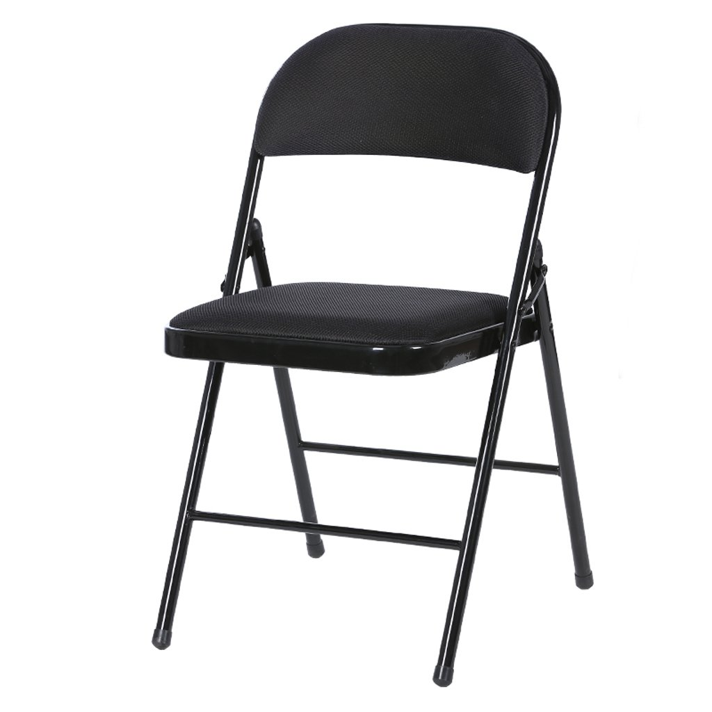 Black Folding Chair Household Simple Portable Folding Chair Office Chair Computer Chair Dining Chair (color   bluee)