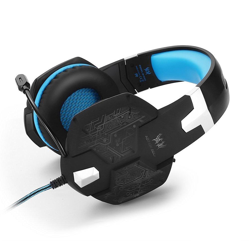 KSCAT G1000 Gaming Headset Kopfhörer USB/Klinken-Stecker Mikrofon LED Effekt für PC Film Gaming Spielen Chat Musik (Blau1)