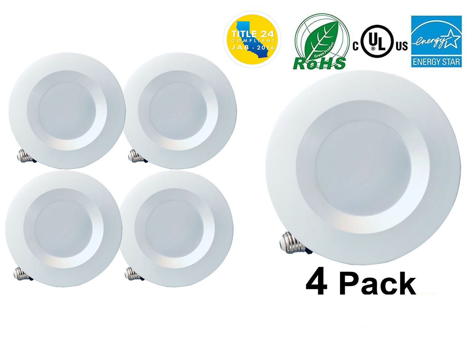 4 Inch Dimmable LED Downlight Smooth Trim, 600 Lumens, 5000K Daylight, Recessed Retrofit Lighting Trim, 10W (60W Replacement), ENERGY STAR UL Listed,TITLE 24 JA8-2016 Compliant 4 Pack