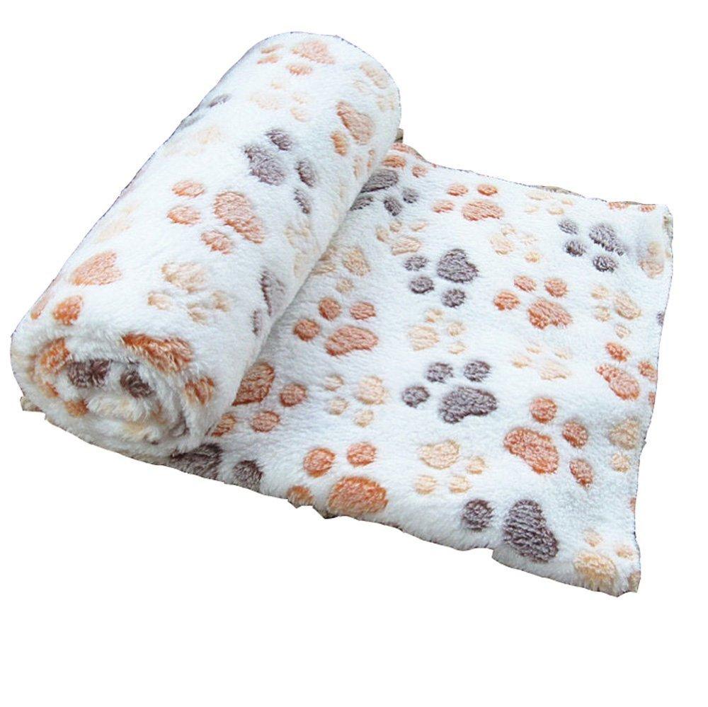 Sunlilee Paw Print Thick Warm Fleece Soft Pet Blanket Dog Puppy Sleep Beds Mat Pet Cat Cushion