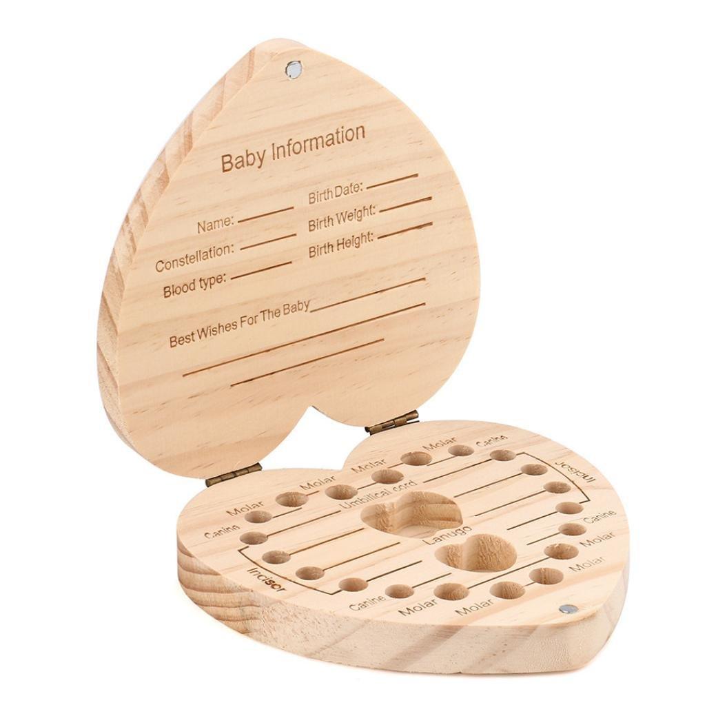Baby Lanugo Collection Souvenir Box Winkey Tooth Box Organizer for Baby Kids Save Milk Teeth Wood Storage Box D 12.5x11.5x3cm