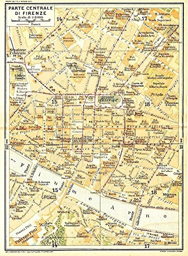 Central Florence Italy 1929 color lithograph city street plan map