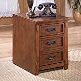 Rustic Design File Cabinet, Oak Veneer and Hardwood Solid Medium Brown Oak Stained Finish Three File Drawers with Metal Pull Hardware Rustic Design with Mission Detailing